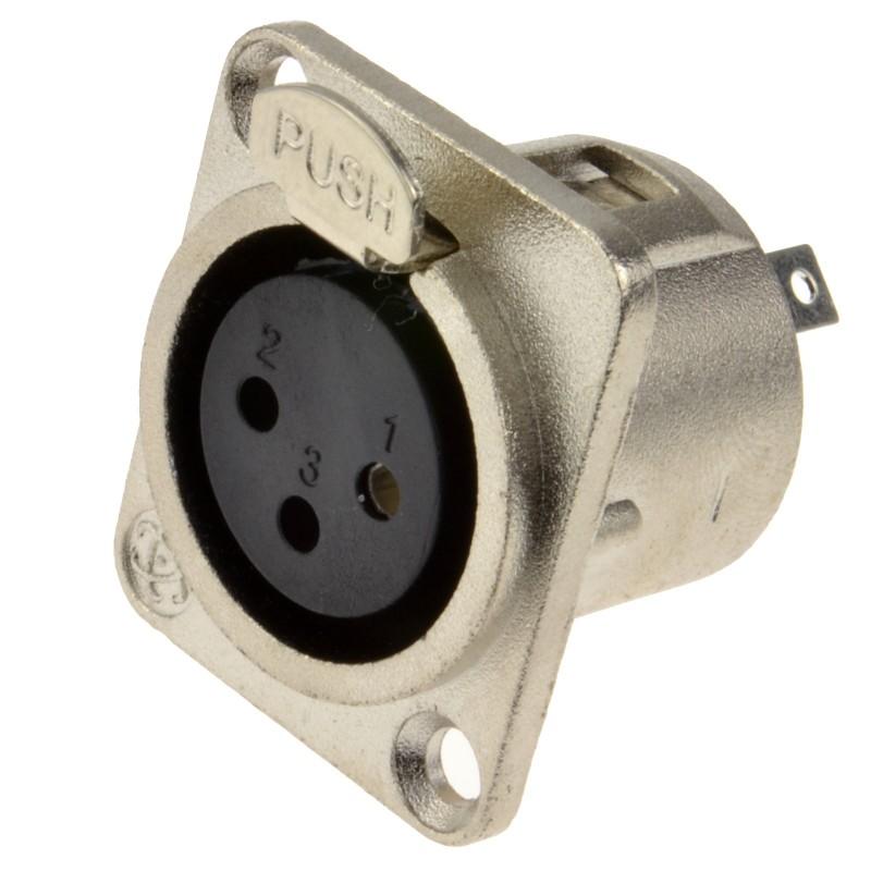 XLR Socket Microphone Chassis Panel Mount Solder Terminal Socket Metal