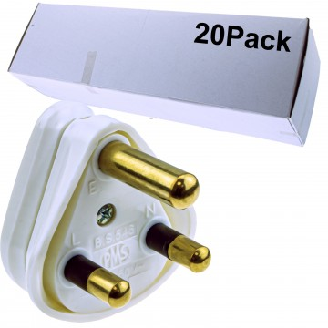 3 ROUND PIN Power Plug for Industrial 15A Sockets Unfused BS546 [20 Pack]