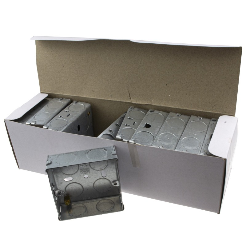 Flush Single Galvanised Steel Back Box With Fixed Lugs 25mm [10 Pack]