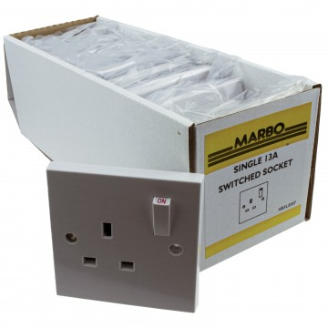 Electrical UK Mains Socket Single 1 Gang Outlet Single Pole 13A White [10 Pack]