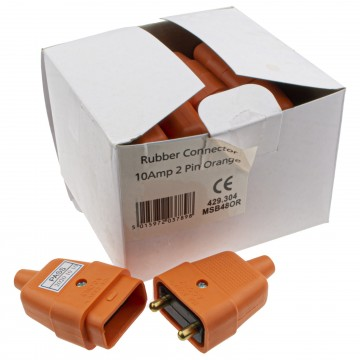 2 Pin Heavy Duty Rubber 10 Amp In Line Coupler Connector Orange [10 Pack]