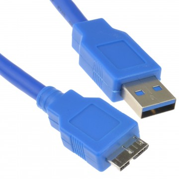 USB 3.0 SuperSpeed A Male to 10 pin Micro B Male Cable BLUE 1m