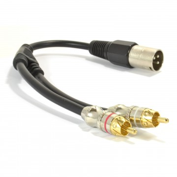 XLR Adapter Plug to 2 x Phono RCA Plug Adapter Cable Lead 25cm
