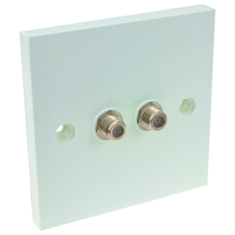 Dual F Type Socket Faceplate for Sky/SkyHD Satellite Outlets OEM