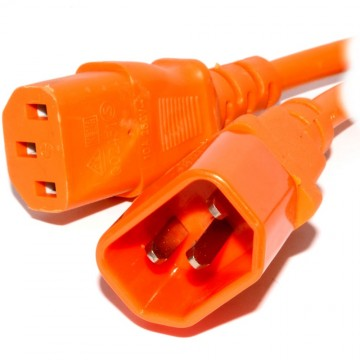 Power Extension Cable IEC Male to Female UPS C14 to C13 2m Orange