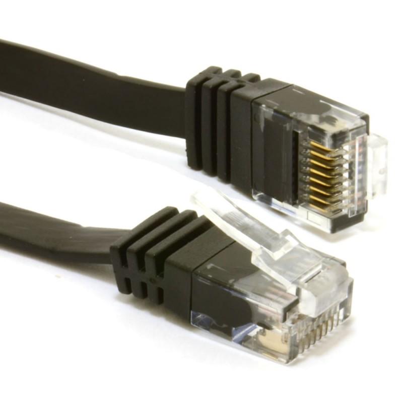 FLAT CAT6 Ethernet LAN Patch Cable Low Profile GIGABIT RJ45 10m BLACK