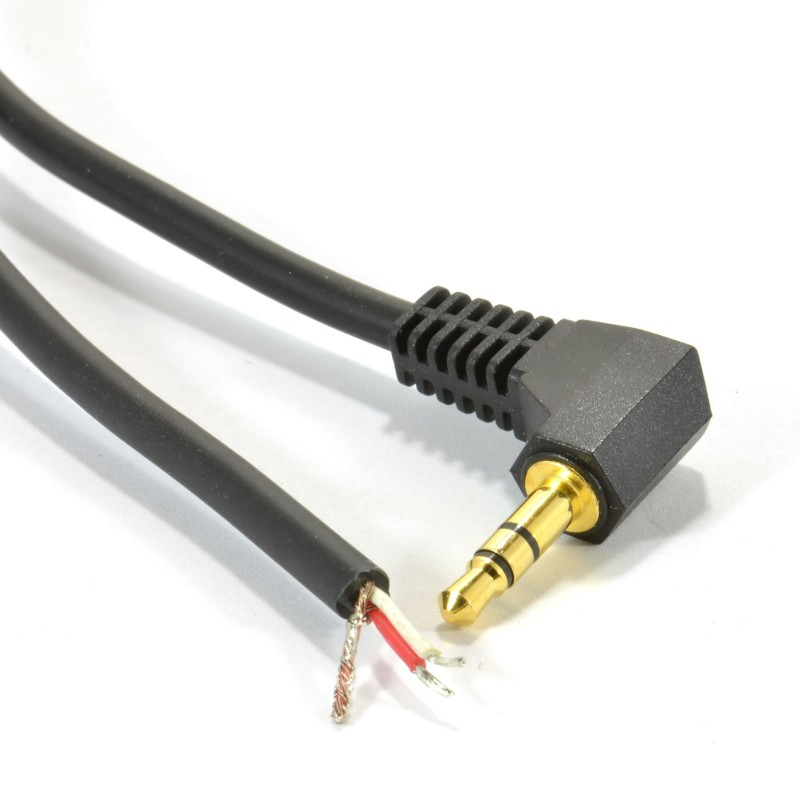 3.5mm Stereo Jack Plug to 3 Pole Solder Bare Wire End Cable Gold 2m