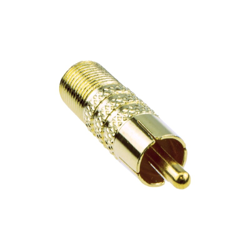 F Type Female Socket to RCA Composite Phono Male Video Adapter GOLD
