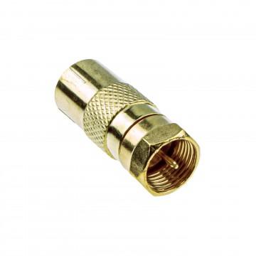 RF Female Socket to F Type Screw Male Plug Adapter Converter GOLD
