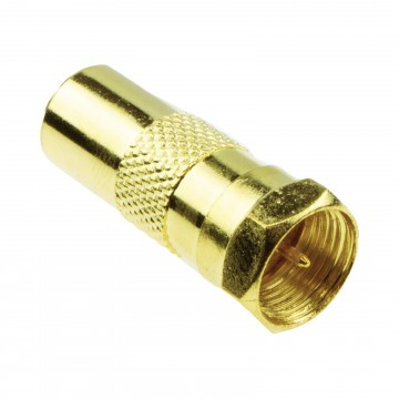F Type Male Plug to RF Male TV Freeview Aerial Cable Adapter Converter GOLD