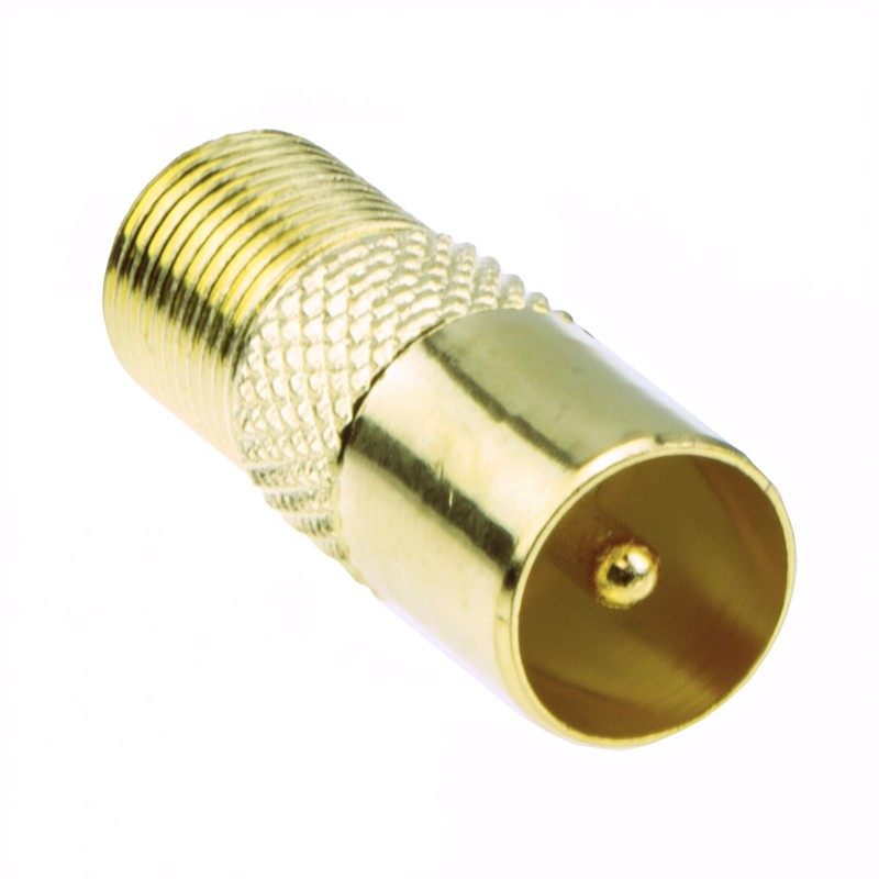 F Type Screw Connector Socket to RF Coax Aerial Male Adapter GOLD