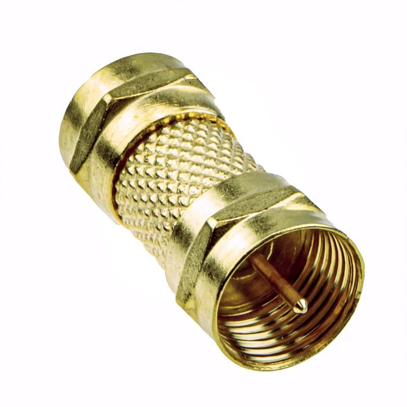 F type screw On Plug to Plug adapter Coupler GOLD