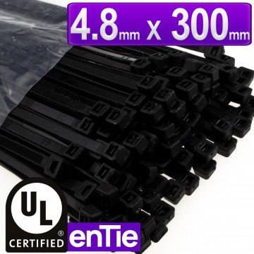 enTie Black Cable Ties 4.8mm x 300mm Nylon 66 UL Approved [100 Pack]