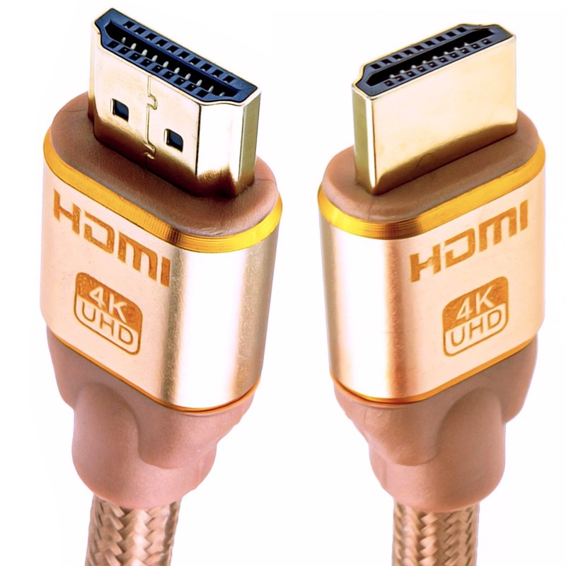PURE HDMI 2.0b 2160p 4k UHD TV Braided High Speed Cable Lead Gold 4m