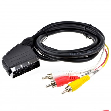 Scart Plug In/Out to Red White Yellow RCA 3 x Phono Plugs AV...