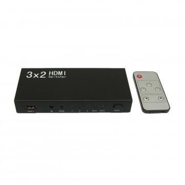 HDMI Mirror Switch Box Splitter 3 Inputs to 2 Outputs inc Remote