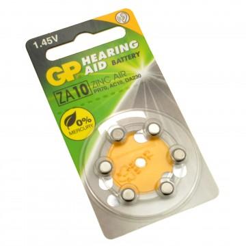 GP Hearing Aid Batteries ZA10 (PR70) Yellow 1.4V 75mAh 3.6x5.8mm
