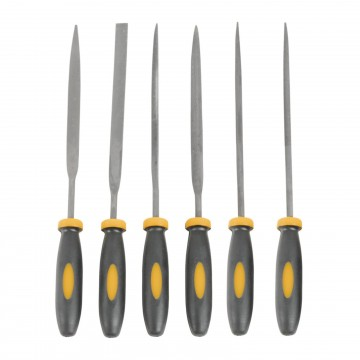 Needle File Filing 6 Piece Precision Tool Set with Cushion Grip Handles