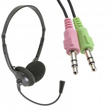 Multimedia Adjustable Headset with Boom Microphone Twin 3.5mm...