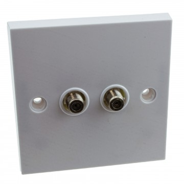 Double F Type Screw Wall Faceplate for Satellite Sky/Virgin Outlet White