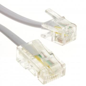 RJ11 Male Plug to 4 wire RJ45 Male Plug Flat Cable Lead  2m White