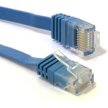 FLAT CAT6 Ethernet LAN Patch Cable Low Profile GIGABIT RJ45   0.3m BLUE