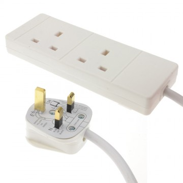 2 Gang Way UK 13A Trailing Socket Mains Power Extension Lead White  1m