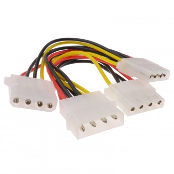 Internal PC 4 pin Power Splitter 3 way Cable LP4 Molex 1 to 3 Lead 15cm
