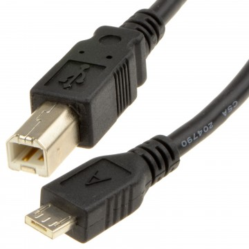 USB 2.0 Micro A To USB Standard B Cable 2m Lead