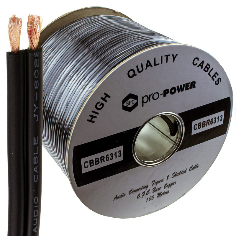Twin OFC Individually Lap Screened/Shielded Audio Speaker Cable Black 100m Reel