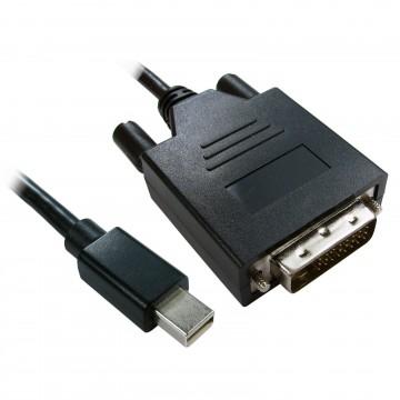 Mini DisplayPort Male Plug to DVI-D 24+1 Male Video Cable Black 3m