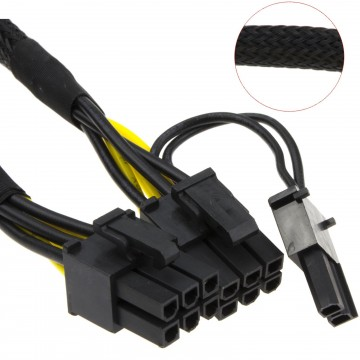 PCI-Express 6 Pin Male to 6+2 Pin Male Power Cable 0.8m Mesh...