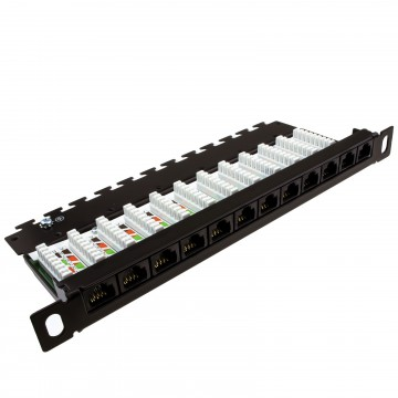0.5U 12 Port GIGABIT Patch Panel for 10Inch SOHO Cabinets...