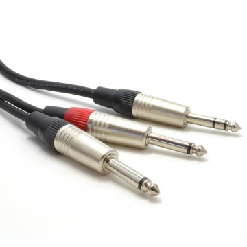 6.35mm Stereo Jack Plug to Twin Mono 6.35mm Jacks Audio Cable...
