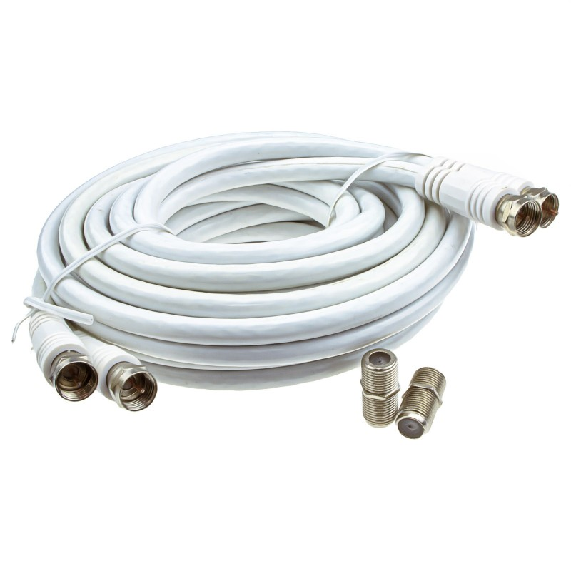TWIN Satellite Moulded F Type Plug to Socket RG6 Extension Cable  3m White