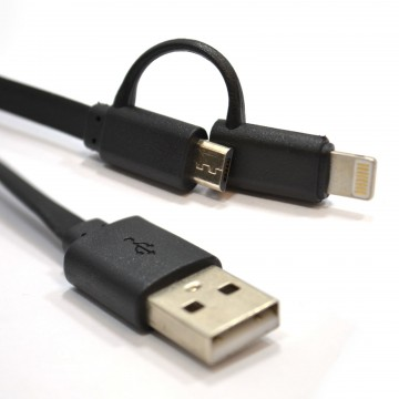 USB Sync/Charging Lead to Micro & Lightning 8 pin Combi Cable...