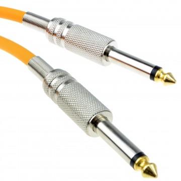 PRO 6.35mm Low Noise Guitar Cable Metal Connectors Orange 5m GOLD