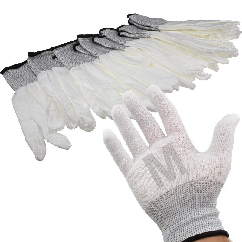 White Work Gloves Anti Static Non Slip [6 Pairs] Size :  Medium