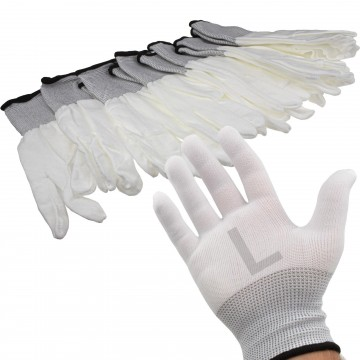 White Work Gloves Anti Static Non Slip [6 Pairs] Size : Large