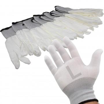 White Work Gloves Anti Static Non Slip [6 Pairs] Size : Large