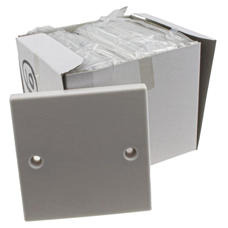1 Gang Blanking Plate for Single Gang Back Box White Finish + Screws [10 Pack]