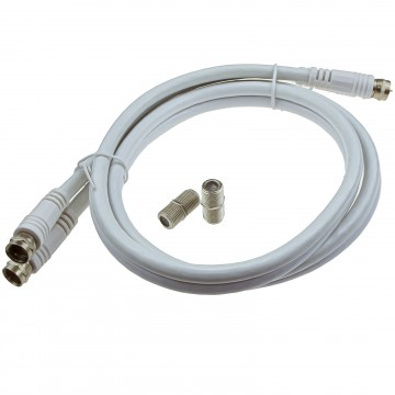 TWIN Satellite Moulded F Type Plug to Socket RG6 Extension Cable  1m White