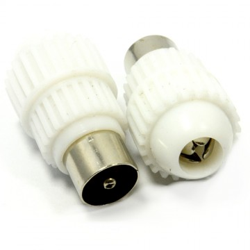 RF TV FM Freeview DAB Radio Coaxial Easy Screw On Male Plugs [2 Pack]