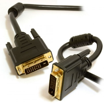 DVI-D Dual Link 24+1 pins with Ferrite Cores Male to Male Cable Gold  1m