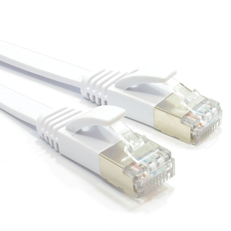 FLAT CAT6A S/STP Shielded 500MHz Ethernet LAN Cable RJ45 15m WHITE
