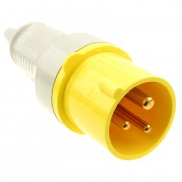 Industrial Site Power 3 Pin Plug 110V 16A Yellow IP44 Splash-Proof