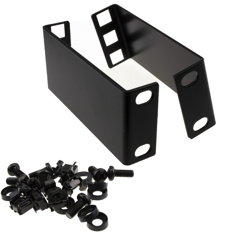 1U Rack Mount Data Cabinet Recessing Bracket with Cage Nuts 100mm Deep