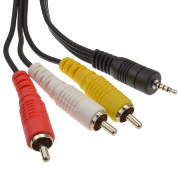 2.5mm Jack to 3 RCA Phonos 4 pole AV out/TV Cable/Lead 3m