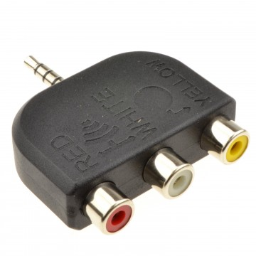 3.5mm Jack to 3 Phonos/RCA 4 pole AV out TV Adapter Converter Red/White/Yellow