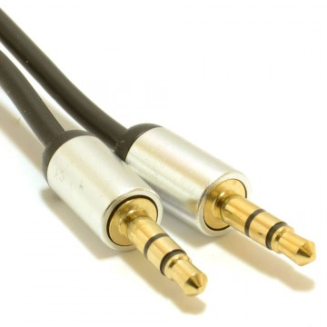 Aluminium PRO 3.5mm Jack to Jack Stereo Audio Cable Lead GOLD...